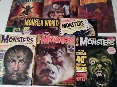 VINTAGE MONSTER FILM MAGAZINES x 8  ISSUES LOT