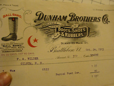 billhead w/ Vignette: 1913 DUNHAM BROTHERS CO. Boots, Shoes & Rubbers. ball band