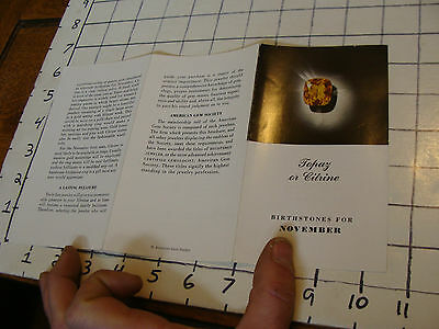 vintage JEWELRY booklet: TOPAZ or CITRINE Novermber birthstone