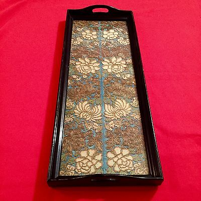 Antique Chinese Silk Textile EMBROIDERY Qing Dynasty TRAY (not Rank Badge)