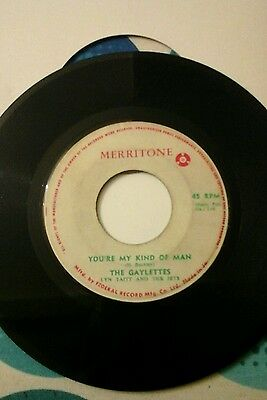 "THE GAYLETTES-YOU'RE MY KIND OF MAN.VINYL 7""45rpm.MERRITONE.VGC"
