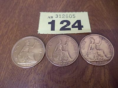 1937 / 1939 / 1948 - 3 x One Penny Coins - George VI - Excellent Condition
