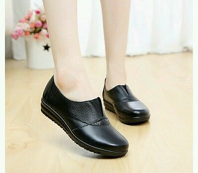 Size 7.5 Women's ladies comfort leather flat black nursing casual working shoes