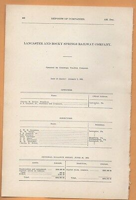 1906 train report LANCASTER & ROCKY SPRINGS RAILWAY lancaster Pa electric trolle