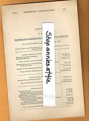 1903 Massachusetts RR report INTERSTATE CONSOLIDATED RAILWAY electric trolley MA