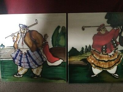Unusual And Quirky Pair Of Ceramic Tiles Depicting Kilt Wearing Rotund Golfers