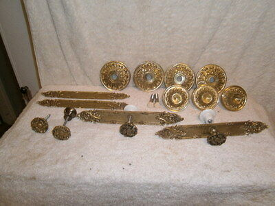 Lot of Ornate Solid Brass Door Knobs, Pulls, and Cover Plates