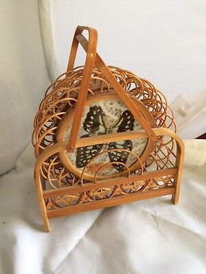 Vintage Wicker And Glass Real Butterfly Coasters With Stand