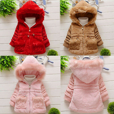 Baby Girls Kid Fur Coat Outerwear Winter Warm Thick Jacket Tops Cotton Snowsuit