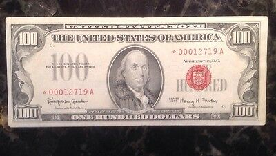 Rarer 1966 $100 United States Note - Red Seal - STAR NOTE - *00012719A