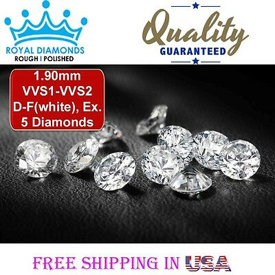 5 Round Brilliant cut Diamonds Loose Natural Real Size-1.90mm VVS D-F VG Real