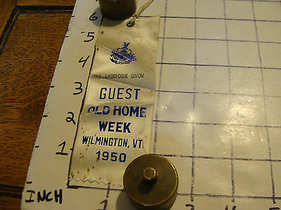 old home week Ribbon WILMINGTON VT, 1950 wrinkled, spotted