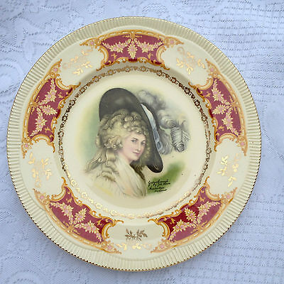 Clarice Cliff Gainsborough - Joh Peters Amsterdam  Burgundy/Gold Plate (114)