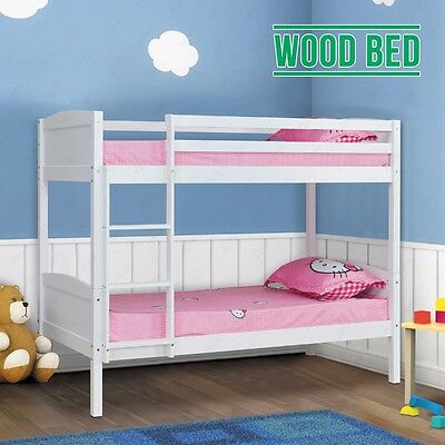 BN Children White Pine Wood Double Single Bed Frame Splits Into 2Single Beds