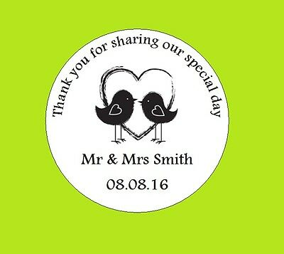 105 Personalised Round Wedding Stickers/Labels Envelopes Seals Heart Ring