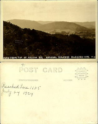 View from Polish Mountain Hwy near Cumberland Hagerstown MD RPPC AZO dated 1924