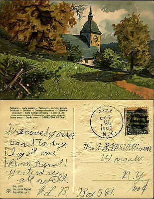Church country scene split rail fence PFB mailed 1908