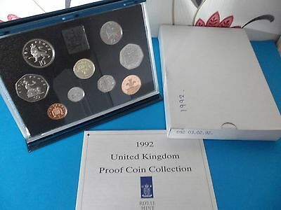 1992  Royal Mint Proof Coin Set Complete With Certificate And Box