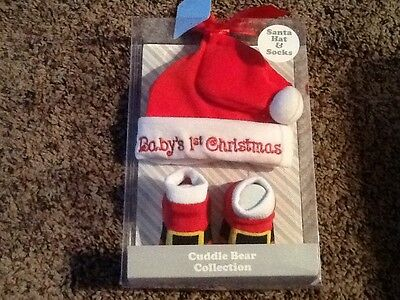 Baby's 1st Christmas Cuddle Bear Collection Hat Socks Booties Santa 0-6 Month