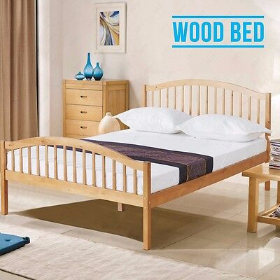 4FT6 Brown Solid Pine Wood Double Bed Frame Natural Pine Bedroom Furniture