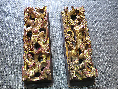 Pair of Antique Chinese Carved Gold & Red Painted Wood Panels w/ Dancers