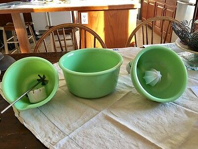 Jadite Fire King Mixing Bowls (2) plus juicer for Grianger mixer