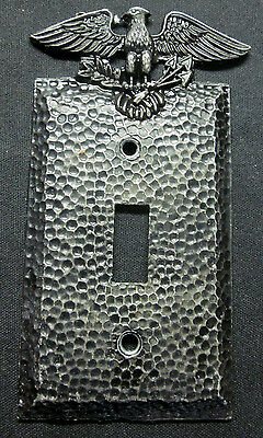 Vintage Patriotic Metal Edmar Black Hammered Switch Plate Cover Eagle Arrows