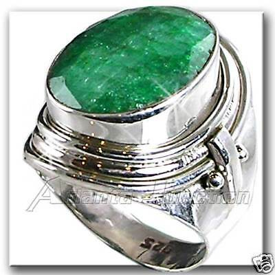 Genuine Green Emerald_Hand Tooled Ring_Sz-6 Silver_Nf