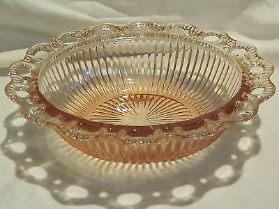 """Hocking Glass Old Colony Pink 9 1/2"""" Ribbed Bowls (2)"""