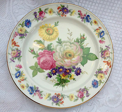 """Royal Bayreuth Gloria Handwork Round Plate 10"""" Floral with Gold Rim  (126)"""