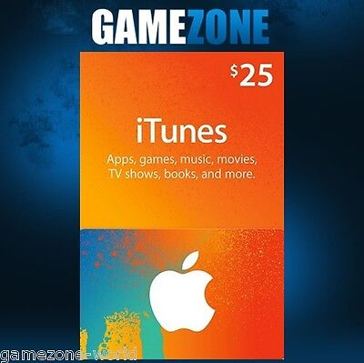 iTunes Gift Card $25 USD USA Apple iTunes Code 25 Dollars United States