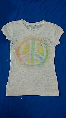 JUSTICE T-Shirt Top Girls Size 7 White Multi Colored Peace Sign Rhinestone