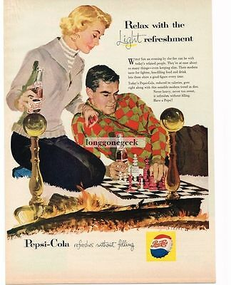 1957 Pepsi Cola Man Woman Playing Chess By The Fireplace art Vtg Print Ad