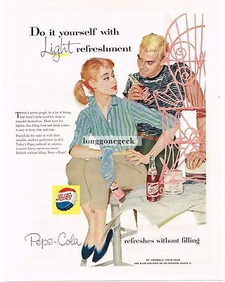 1957 Pepsi Cola Woman Painting Pink Garden Chair art Vtg Print Ad