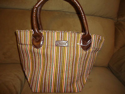 Longaberger Brown Sisters Stripe Tote Bag Purse-NEW  SALE!!!