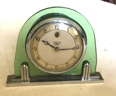 Quality Art Deco Chrome And Green Glass Smiths Electric Mains Powered Clock
