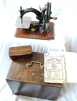 Willcox & Gibbs 1882 Patent Sewing Machine A582788 + Box Instructions Tools Etc