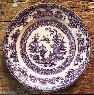 "ANTIQUE 8"" PLATE - TEMPLE - FW & Co. Mulberry Transferware Pearl Stoneware"