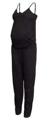 New H&M Maternity Stretch Black Wrap Front Jumpsuit all in one size Large L