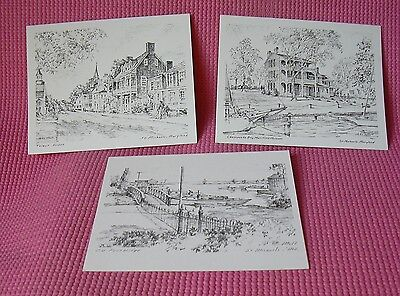 John Moll St Michaels MD Sketches Chesapeake Bay 3 Note Cards Easton