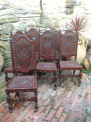 Beautiful Antique Pierced Leather Dining Chairs Set Of 6 Probably Spanish
