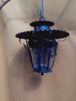 Mid Century Glass And Metal Hall Porch Lantern Needs Wiring Very Good Condition
