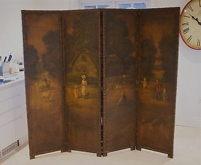 Fine Victorian Four-Panel Leather Screen Room Divider, Hand-Painted Rural Scene.