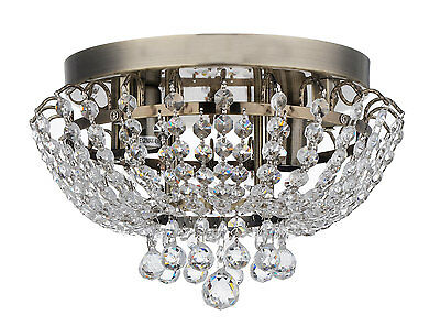 Royal Designs Clear Antique Brass Crystal Ceiling Flush Mount, 2- Lights