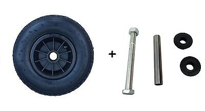 "12"" Black Pneumatic Wheel 4.00-6 Sack Truck Trolley Wheelbarrow Wheel + Axle"