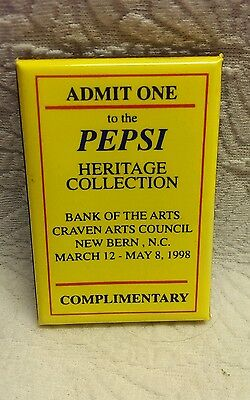 Pepsi Admit One Heritage Collection 1998 Bank Of The Arts Badge Pin