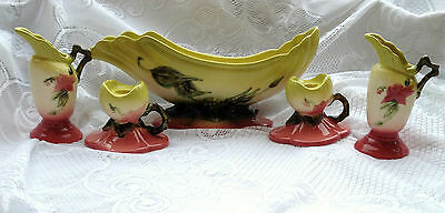 5 Pc Hull WOODLAND Made USA W30 Pottery Console Bowl/Candle Holders/2 Vases 130