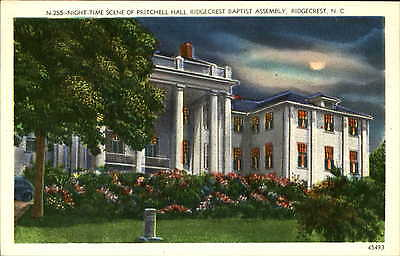 Ridgecrest Baptist Assembly NC North Carolina unused linen moon night postcard