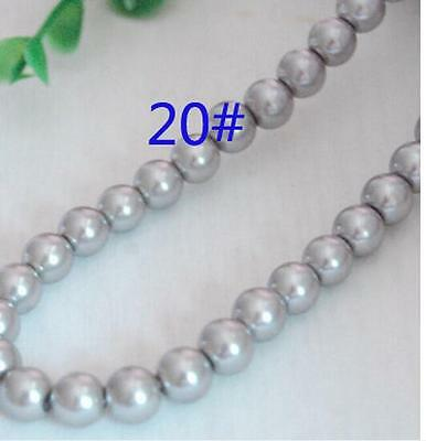 A string  glass pearl beads, round,8mm, wedding & craft ( 50 pcs)*gray A