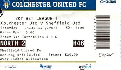 Colchester United v Sheffield United 25/01/14 League 1 Ticket